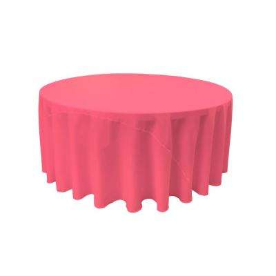 108 in. Round Hot Pink Polyester Poplin Tablecloth