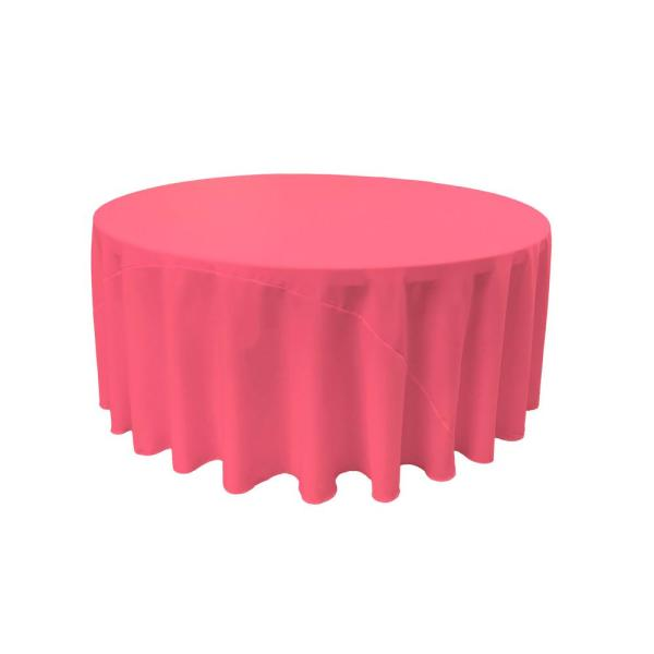 LA Linen 120 in. Hot Pink Polyester Poplin Round Tablecloth TCpop120R_HotPinkP38