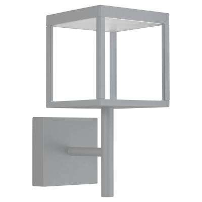 Reveal Medium Square 1-Light Satin Gray LED Outdoor Wall Mount Sconce with Clear Glass Diffuser