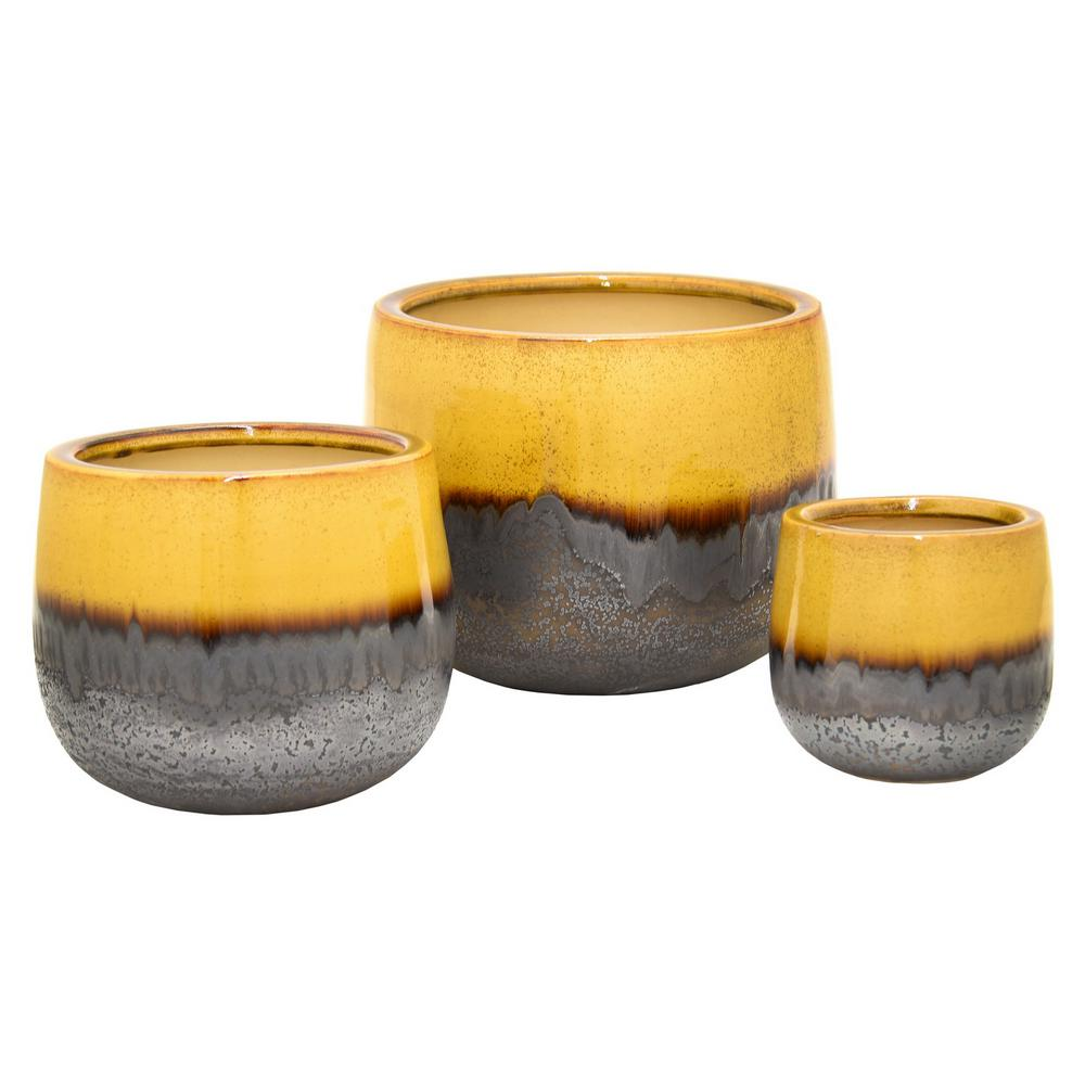 THREE HANDS 12 in. x 9 in. Brown Ceramic Planter (Set of 3
