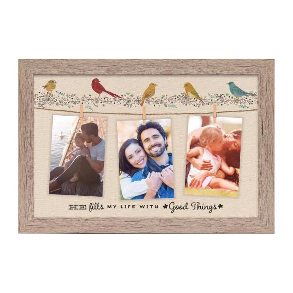 Homespun Collection Holds 3 4 In By 6 Photos Barnwood Looking Frame He Fills My Life Hanging Photo