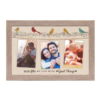 "Homespun Collection Holds 3, 4 in by 6 in Photos Barnwood Looking Frame ""He Fills My Life"" Hanging Photo Frame"