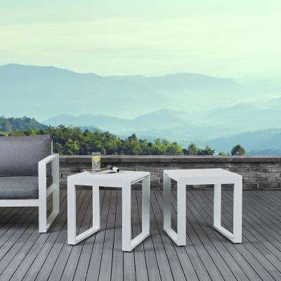 Baltic White Square Powder Coated Aluminum Outdoor Side Table (Set of 2)