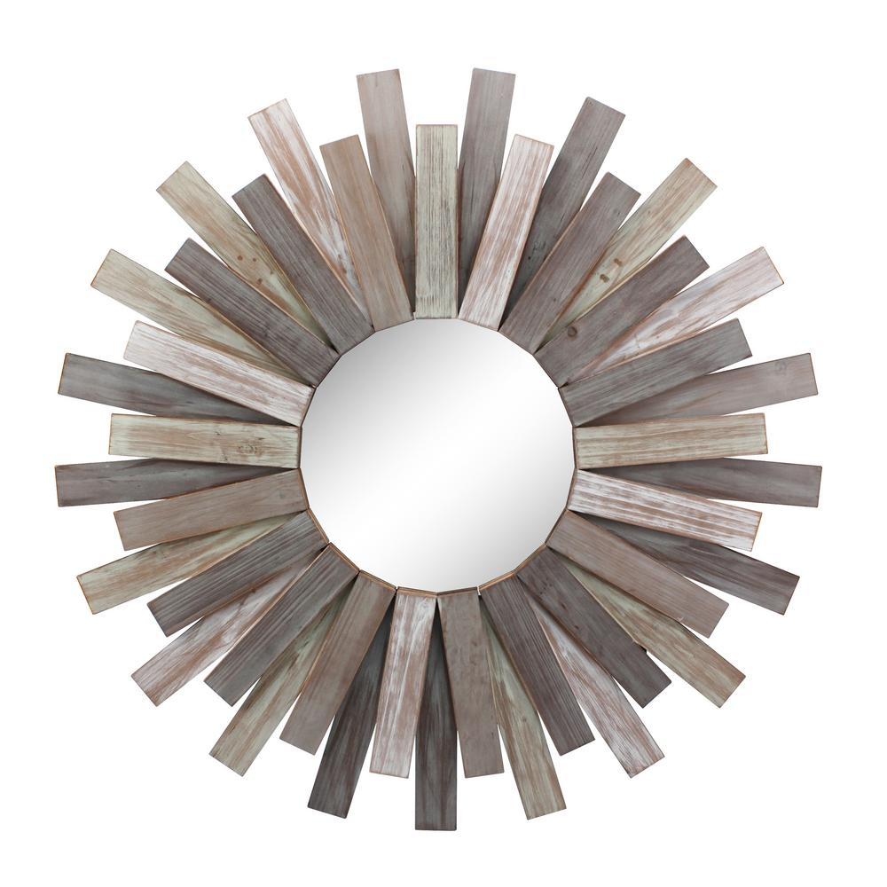 Stonebriar Collection Medium Round Brown Contemporary Mirror 31 In H X 31 In W Sb 6138a The Home Depot