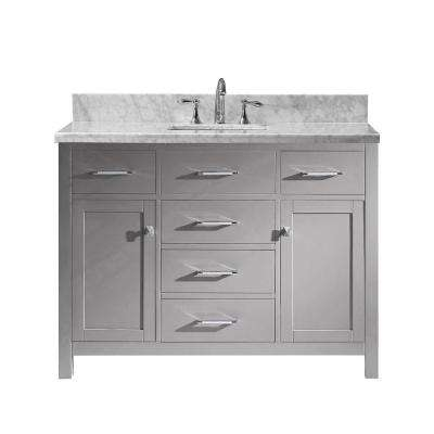 Caroline 49 in. W Bath Vanity in Cashmere Gray with Marble Vanity Top in White with Square Basin