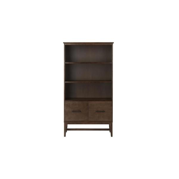 61.1 in. Smoke Wood 3-shelf Standard Bookcase with Adjustable Shelves