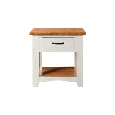 Rustic Collection End Table Antique White and Honey Tobacco
