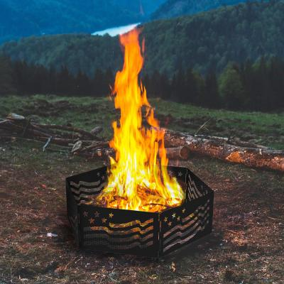The Zion 36 in. x 12 in. Hexagon Steel Portable Folding Wood Fire Pit Ring with Carrying Bag - Stars and Stripes