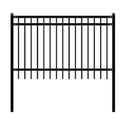 Nice Style 4 ft. x 6 ft. Black Unassembled Steel Fence Panel