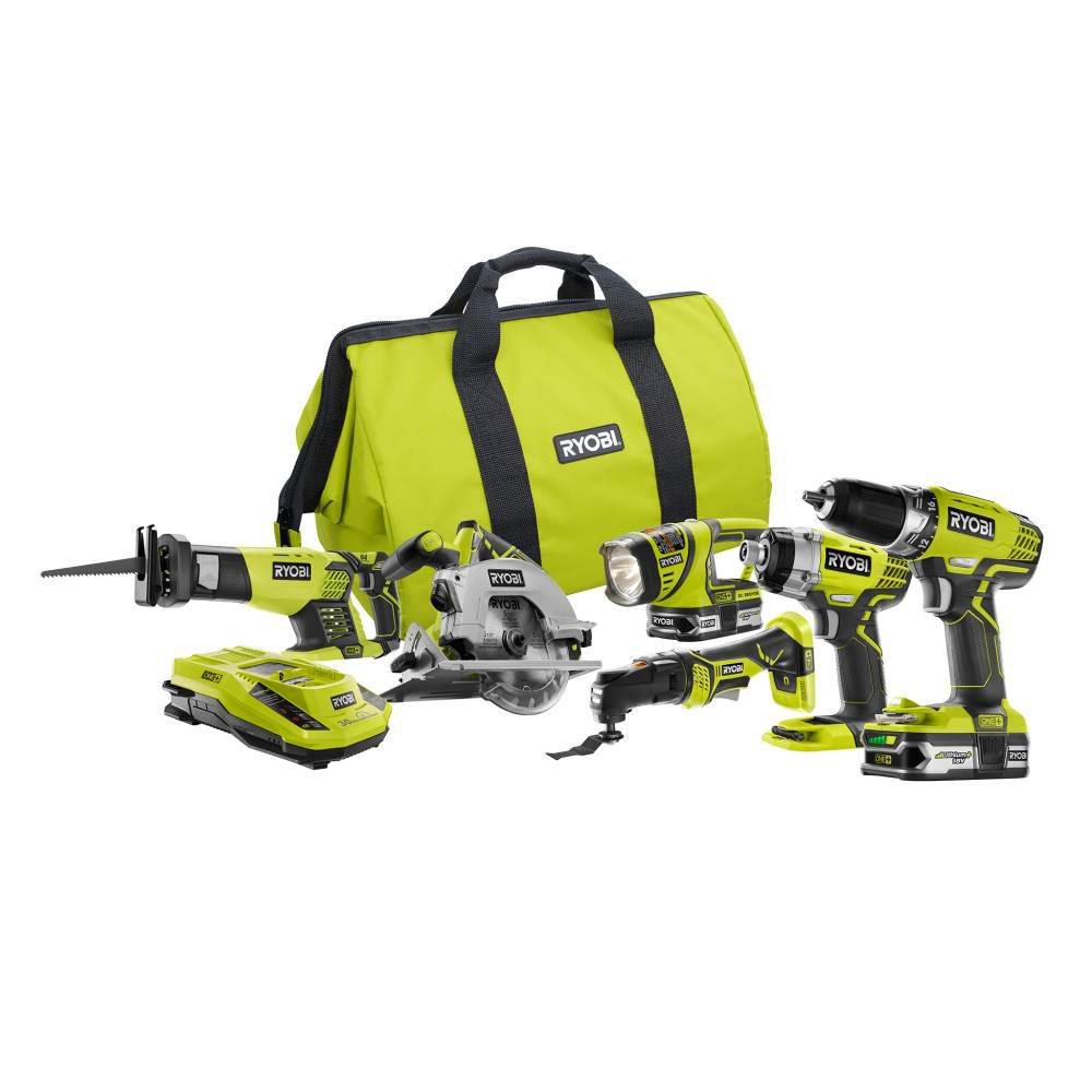 RYOBI 18-Volt ONE+ Lithium Ion Cordless 6-Tool Combo Kit with (2) 1.5 Ah Batteries, Dual Chemistry Charger, and Tool Bag