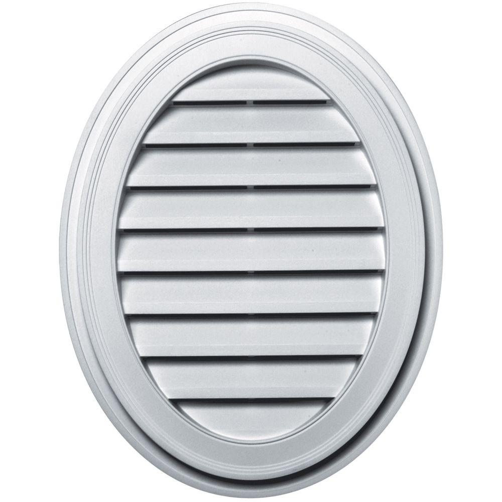 27 in. Oval Gable Vent in White