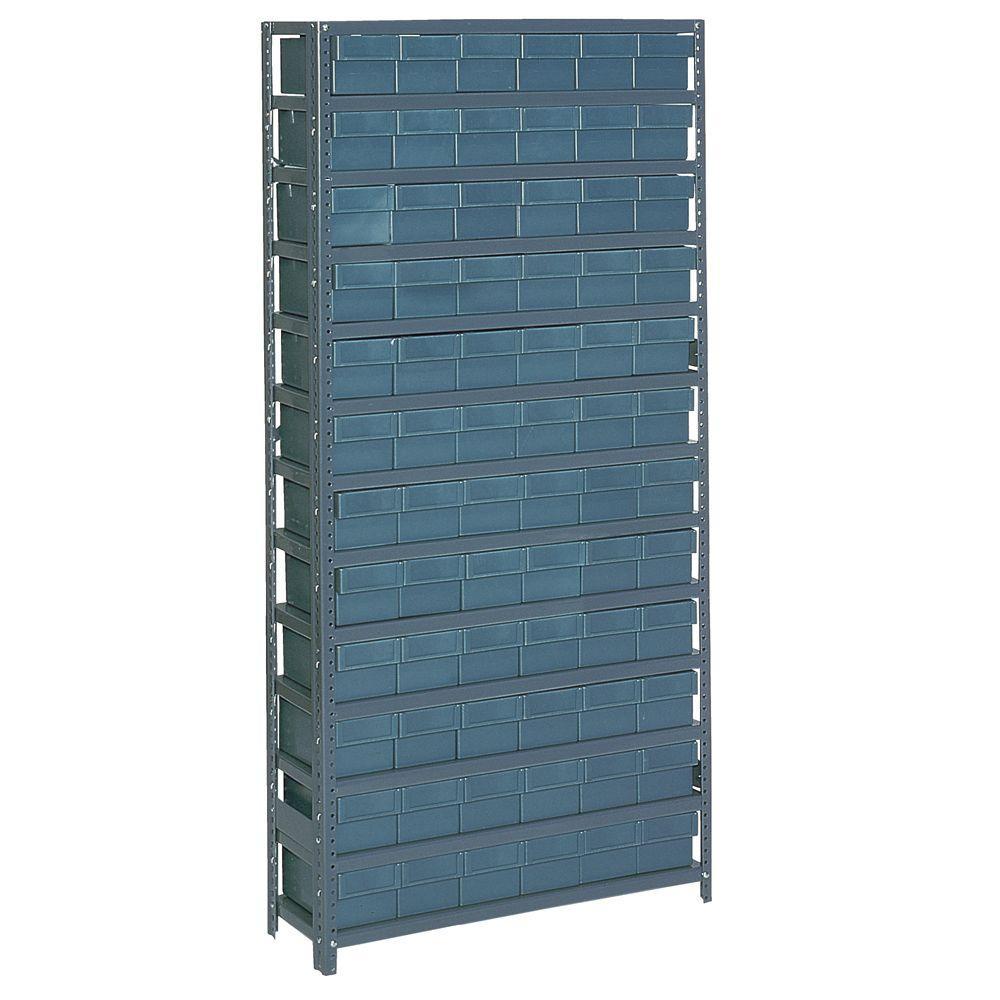 edsal 72 bin 36 in w x 12 in d x 75 in h heavy duty 7 shelf gray plastic bin unit shelving. Black Bedroom Furniture Sets. Home Design Ideas