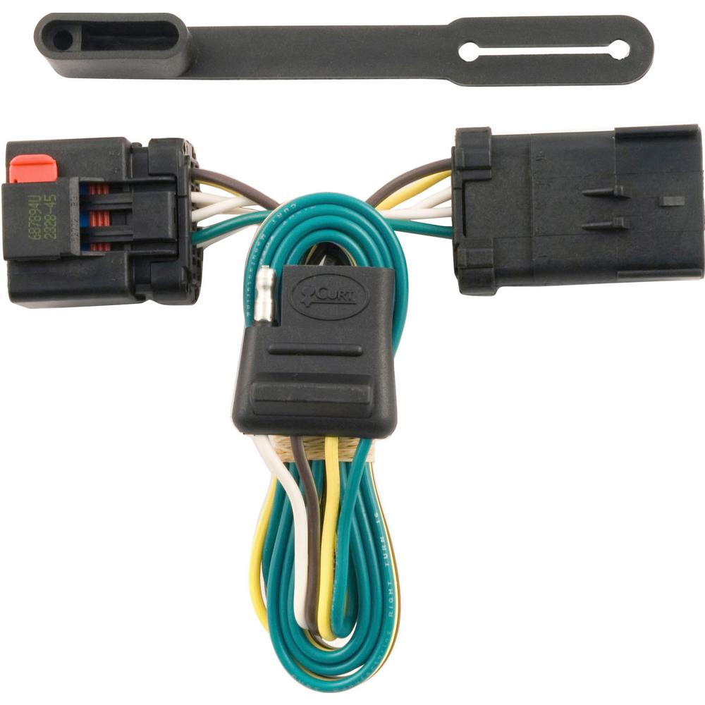CURT Custom Vehicle-Trailer Wiring Harness, 4-Flat, Select Chrysler, Dodge,  Jeep, Mitsubishi with Tow Package, T-Connector-55381 - The Home DepotThe Home Depot
