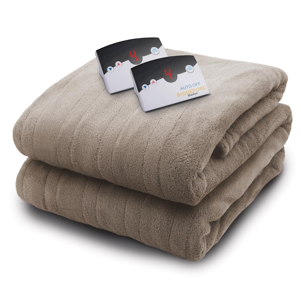 2034 Series Micro Plush Heated 100 in. x 90 in. Taupe (Br...