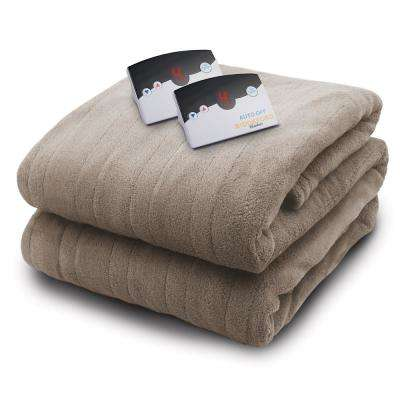 2034 Series Micro Plush Heated 100 in. x 90 in. Taupe King Size Blanket