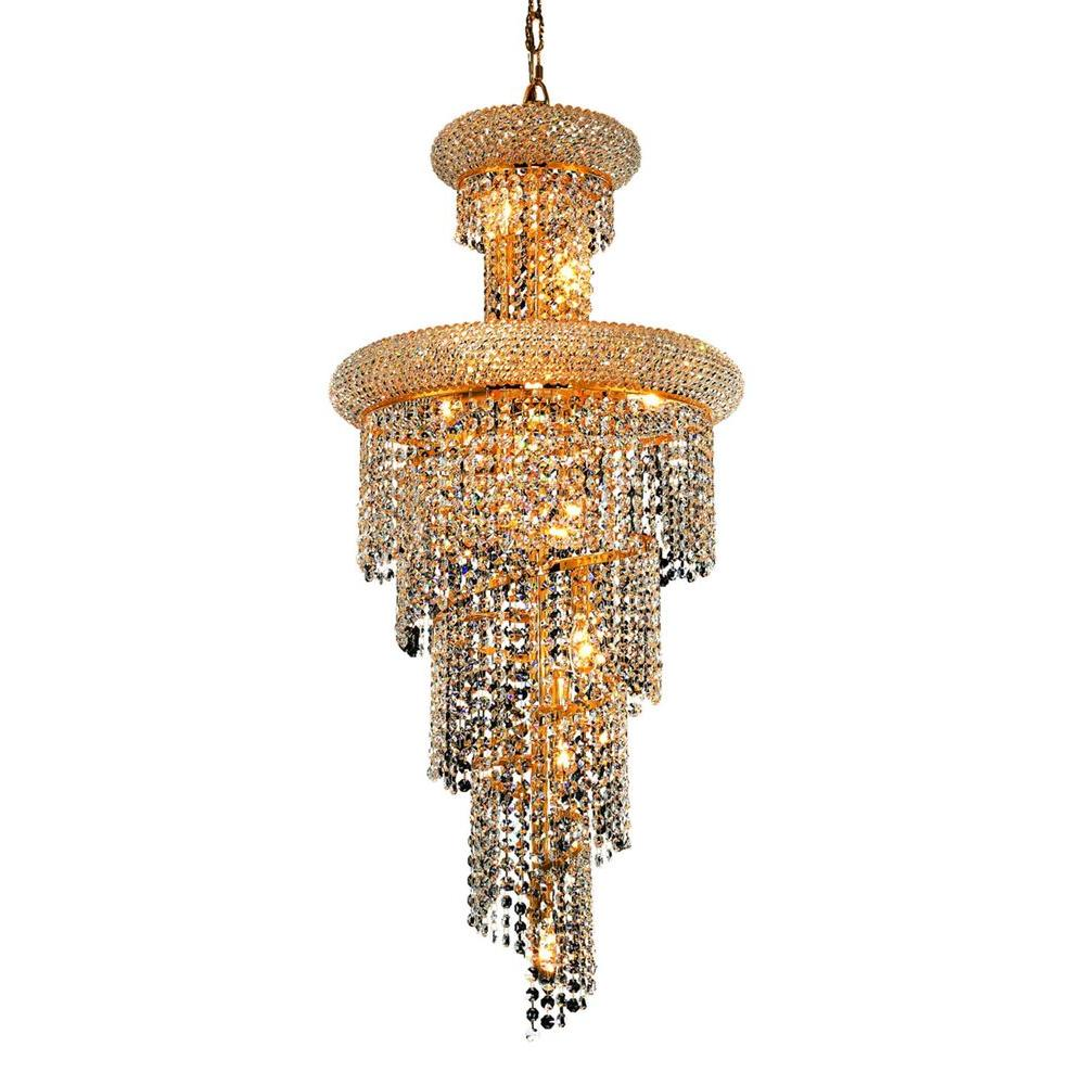 10-Light Gold Chandeliers with Clear Crystal
