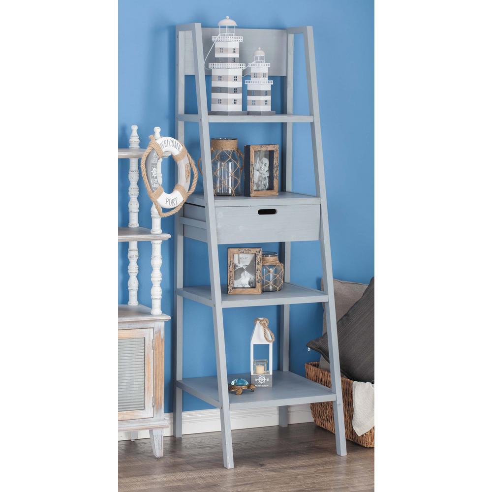 23 in. L x 21 in. W White Wooden 4-Tier Stairway Storage Shelf
