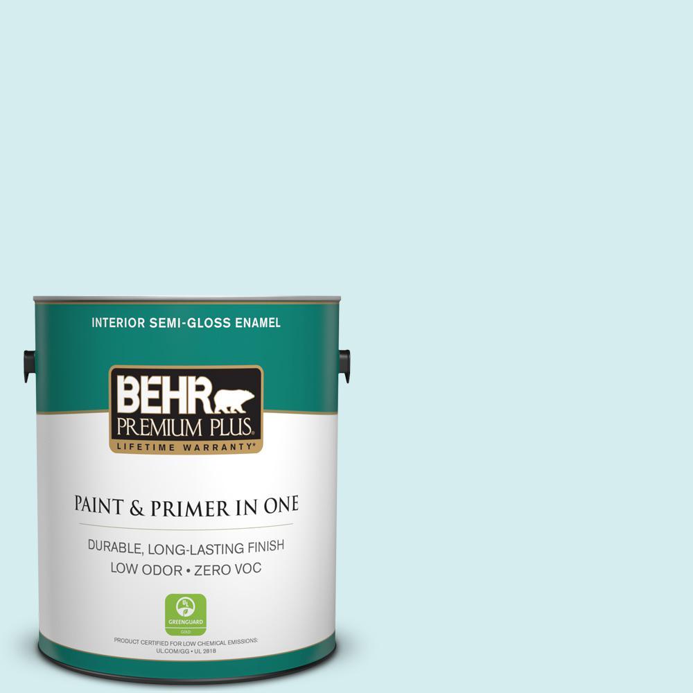 BEHR Premium Plus 1-gal. #520A-1 Lakeside Mist Zero VOC Semi-Gloss Enamel Interior Paint