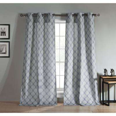 Kenilworth 96 in. L x 38 in. W Polyester Jacquard Curtain Panel in Indigo (2-Pack)