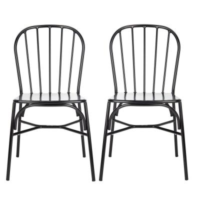 Everleigh Matte Black Stackable Metal Outdoor Dining Chair (2-Pack)