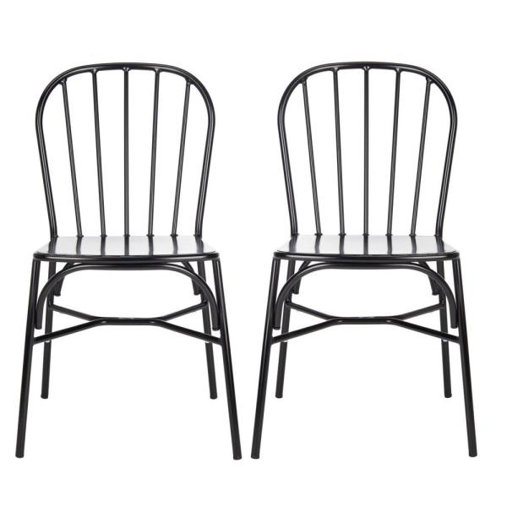 Everleigh Matte Black Stackable Metal Outdoor Dining Chair (2-Pack)