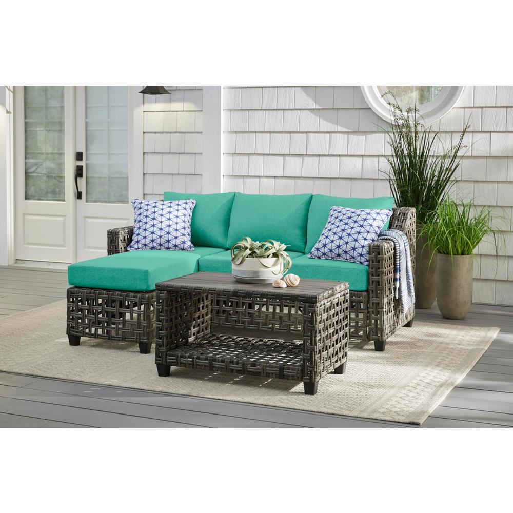 Briar Ridge 3-Piece Brown Wicker Outdoor Patio Sectional Sofa with CushionGuard Seaglass Turquoise Cushions