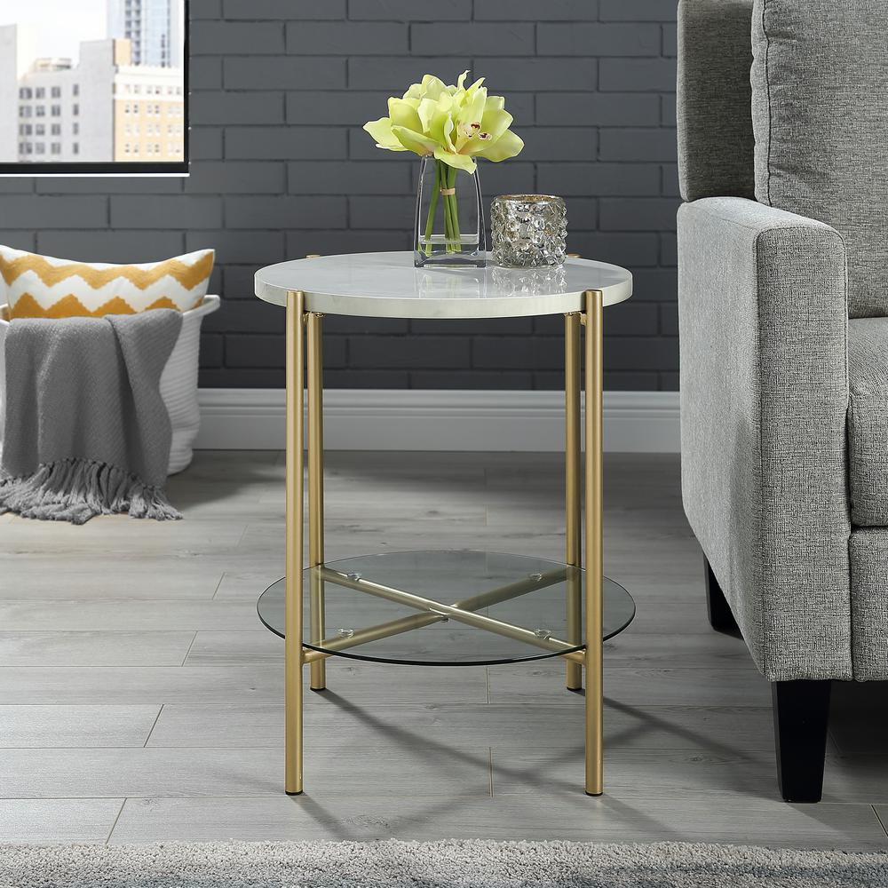 3508ac8643bc7 Walker Edison Furniture Company 20 in. White Marble and Gold Simone Round  Side Table