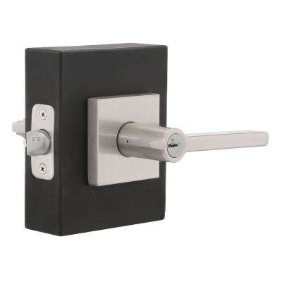 Halifax Satin Nickel Square Keyed Entry Door Lever featuring SmartKey