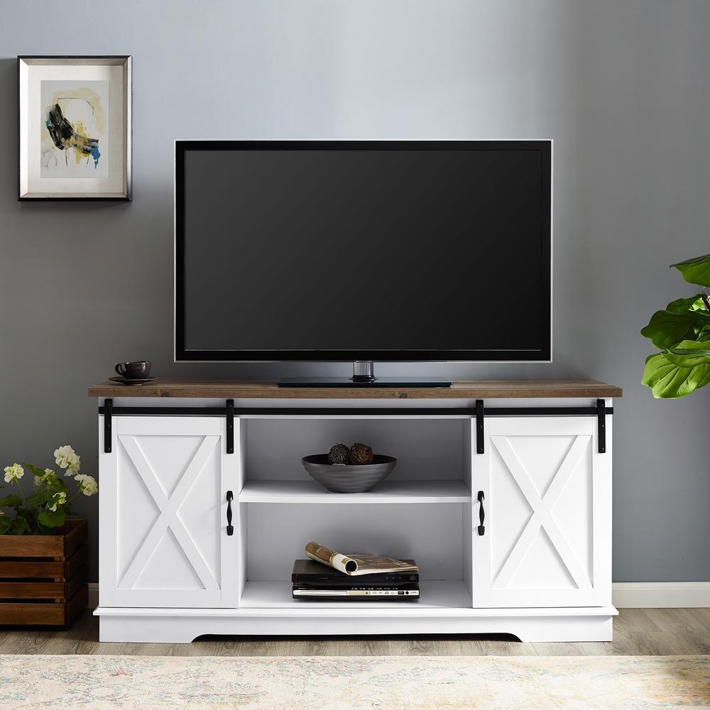 Walker Edison Furniture Company 58 In White And Rustic Oak