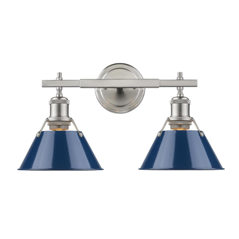 Orwell PW 2-Light Pewter Bath Light with Navy Blue Shade