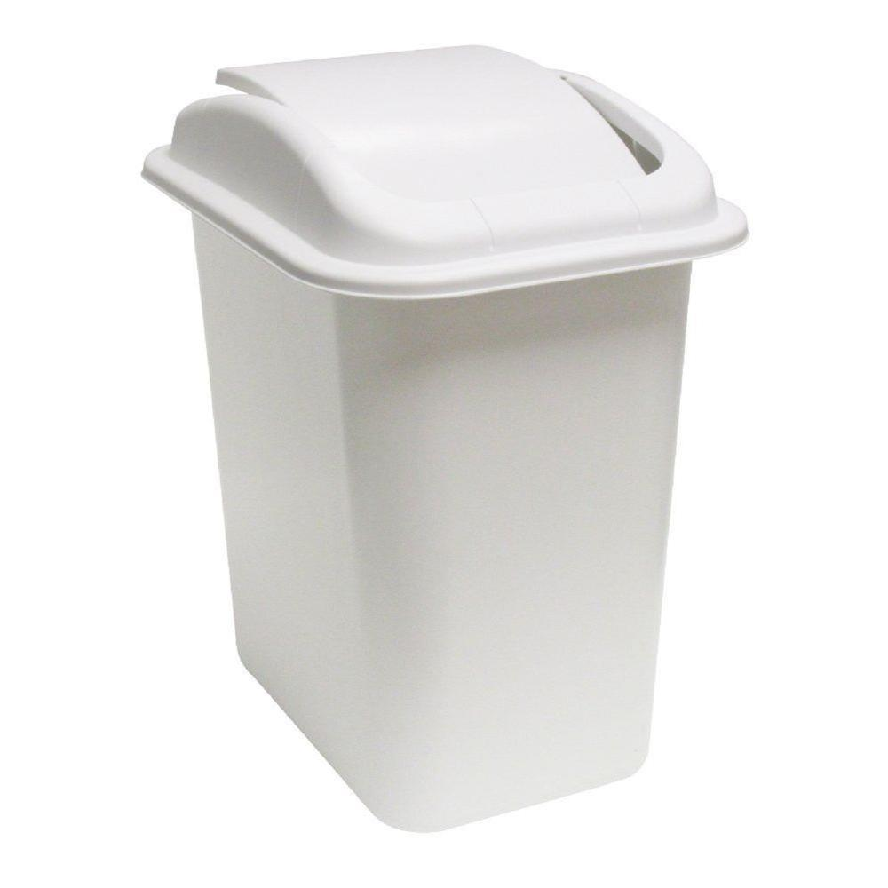 United Solutions 28 Qt White Wastebasket With Universal