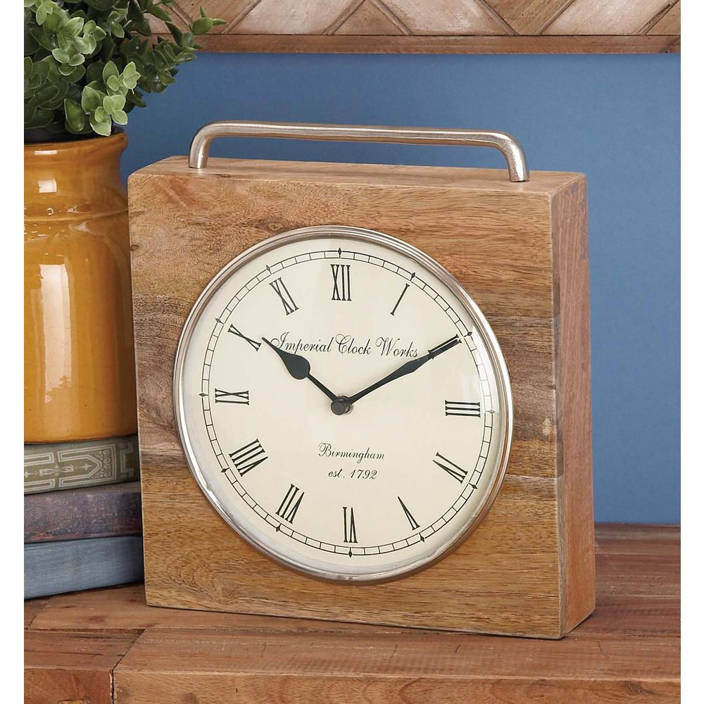 Rustic Table Clock: 11 In. X 10 In. Rustic Wood And Iron Brown Square Table