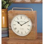 11 in. x 10 in. Rustic Wood and Iron Brown Square Table Clock