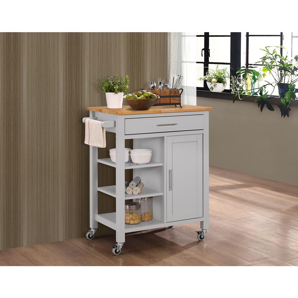 Gray Kitchen Cart with Storage