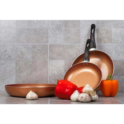 3-Pieces 8 in., 10 in. and 12 in. Eco-friendly Copper Frying Pan Set with Bakelite Handles