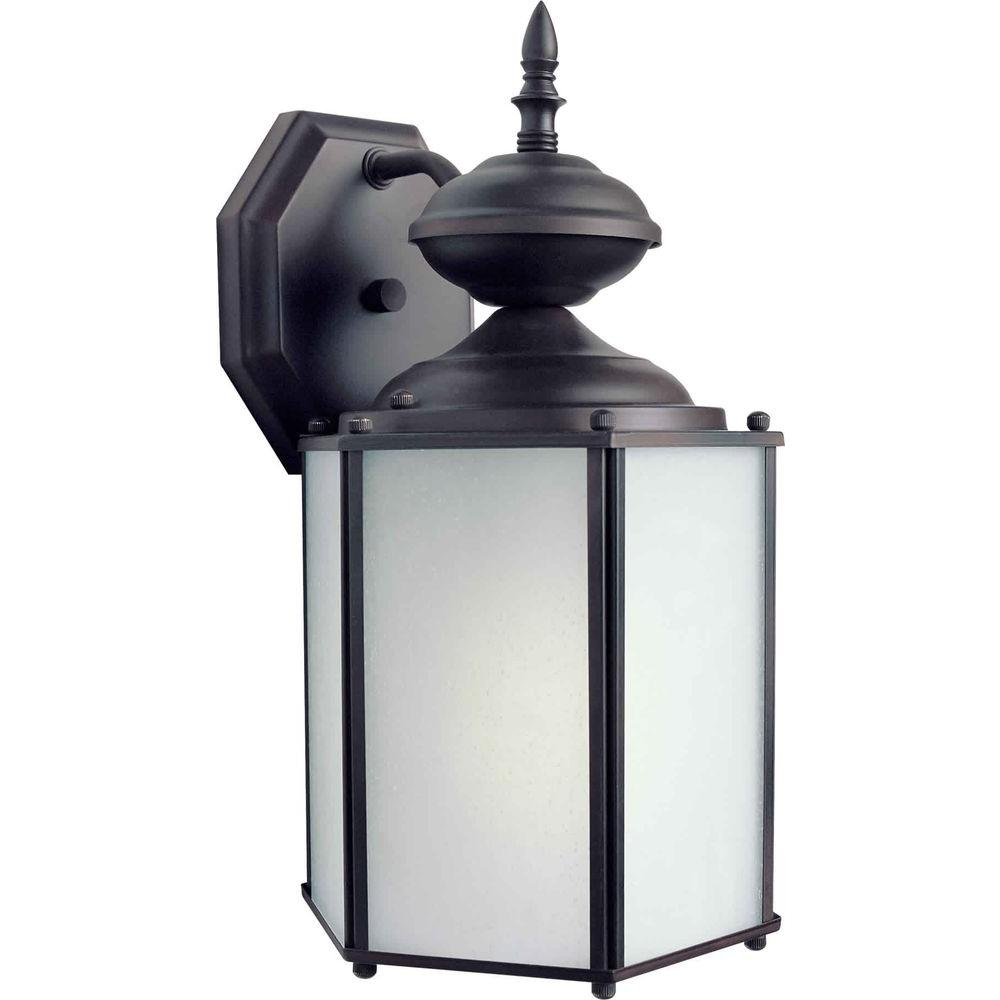 Talista 1-Light Outdoor Antique Bronze Wall Lantern with Frosted Seeded Glass