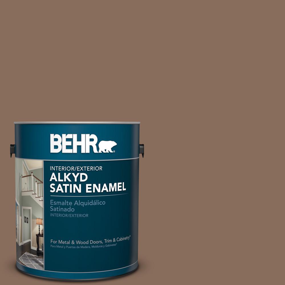 1 gal. #N190-6 Nut Brown Satin Enamel Alkyd Interior/Exterior Paint