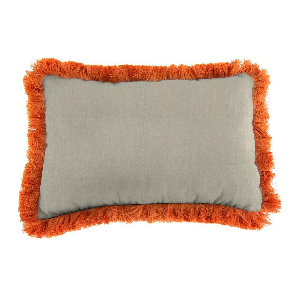 Jordan Manufacturing Sunbrella 9 in. x 22 in. Spectrum Dove Lumbar Outdoor Pillow with Tuscan Fringe