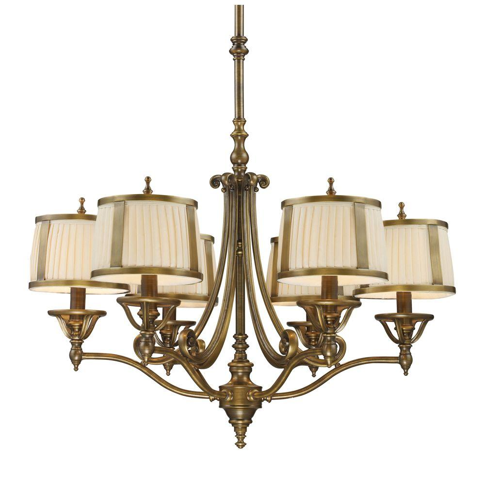 Titan Lighting 6-Light Vintage Brass Patina Ceiling Chandelier-DISCONTINUED