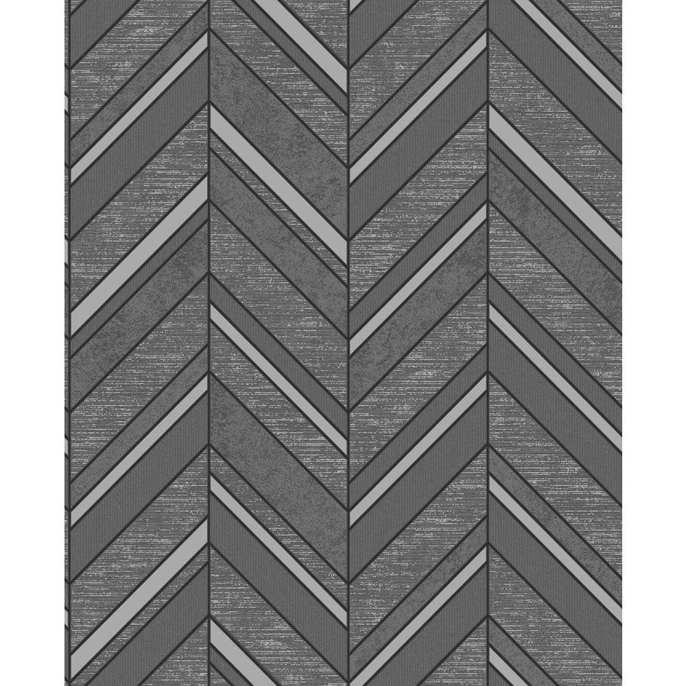 Advantage Punta Mita Charcoal Chevron Wallpaper Sample