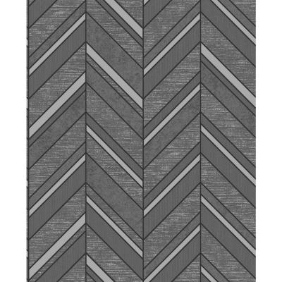 Punta Mita Charcoal Chevron Wallpaper Sample