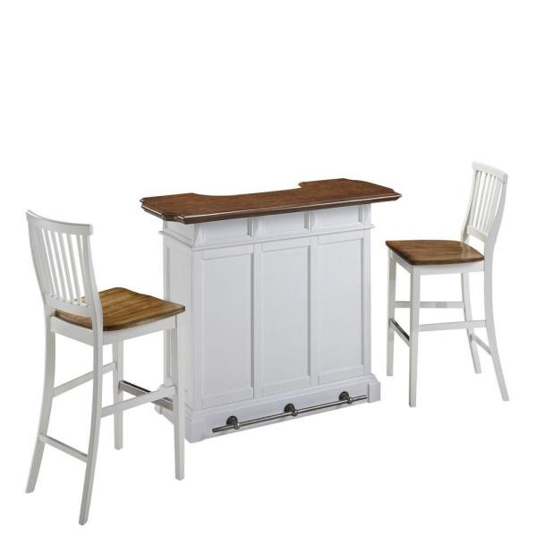 Home Styles Linear White Kitchen Island And 2-Bar Stools