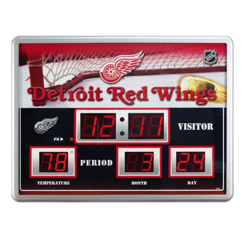 null Detroit Redwings 14 in. x 19 in. Scoreboard Clock with Temperature