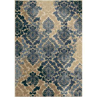 Victorian Damask Multi Floral 5 ft. 2 in. x 7 ft. 6 in. Indoor/Outdoor Area Rug