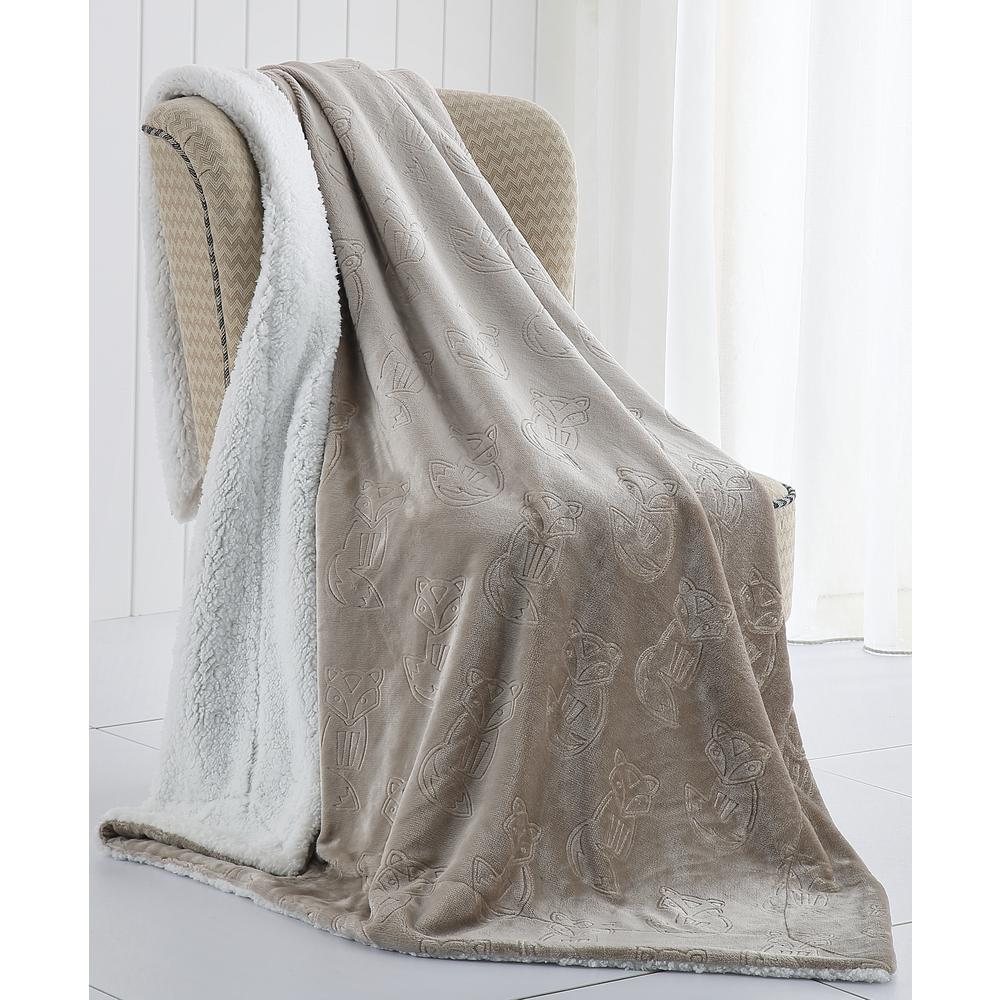 Morgan Home Fred the Fox Velvet Plush and Sherpa Throw Blanket