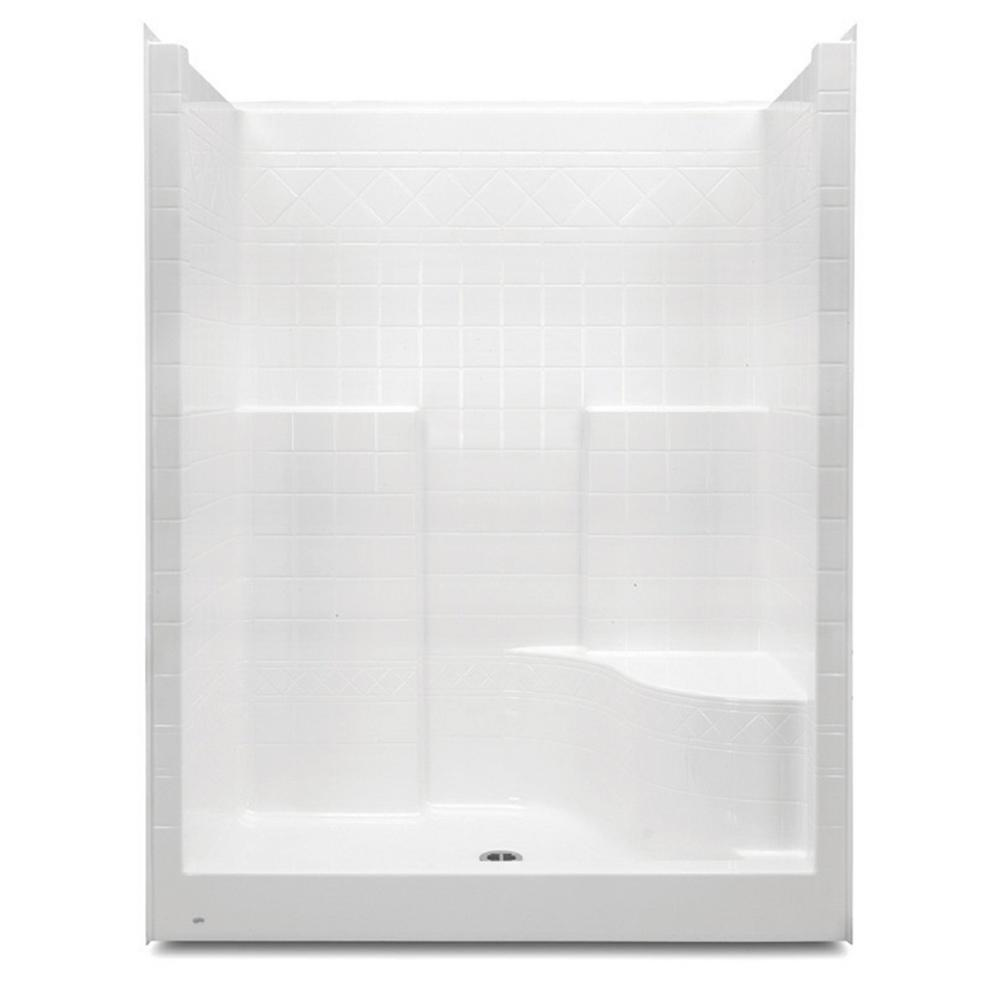 Aquatic Everyday 60 in. x 36 in. x 76 in. 1-Piece Shower Stall with ...