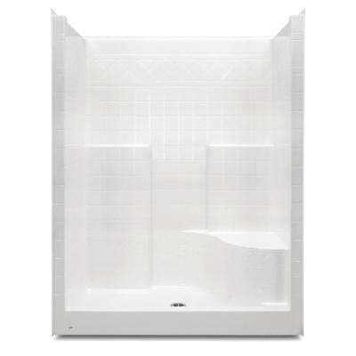 Everyday 60 in. x 36 in. x 76 in. Center Drain Right Seat 1-Piece Shower Stall in White