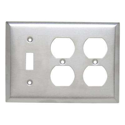 302 Series 3-Gang Toggle/Duplex/Duplex Combination Wall Plate, Stainless Steel