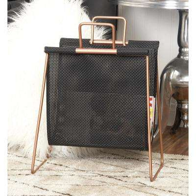 Black and Copper Gold Iron and Fabric Freestanding Magazine Caddy