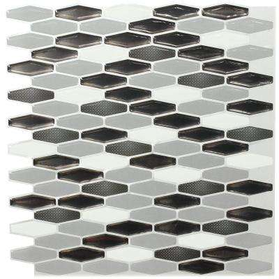 12 in. x 12 in. Peel and Stick Mosaic Decorative Wall Tile in Metallic Gray and White (6-Pack)